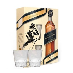 [1405] JOHNNIE WALKER BLACK LABEL C/ 2 VASOS 750ml