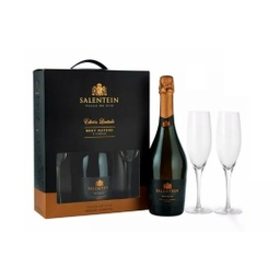 [2074] SALENTEIN BRUT NATURE MAS 2 COPAS C/ ESTUCHE 750ml